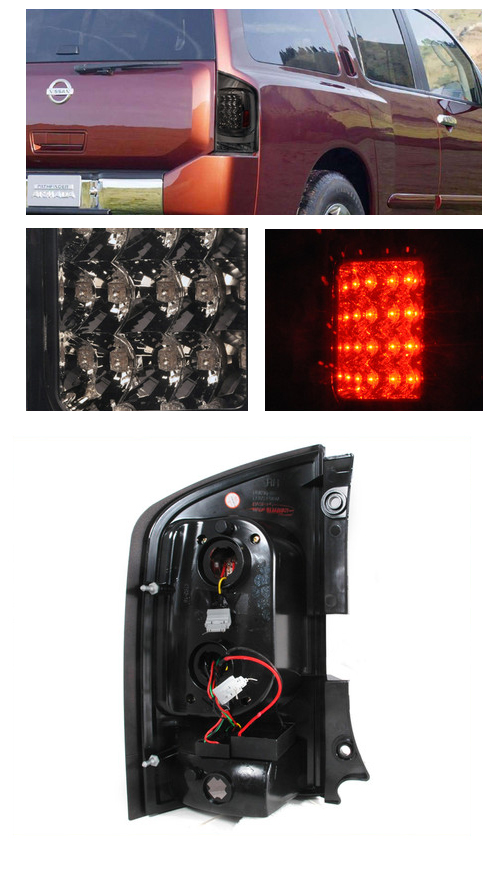 2005 2012 Nissan Armada Euro Style Led Tail Lights Red