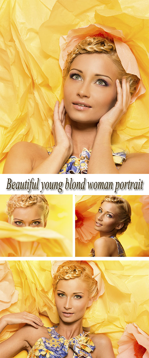 Stock Photo: Beautiful young blond woman portrait