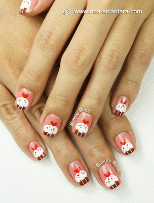 Cupcakes for Valentine's Nail Art by Simply Rins
