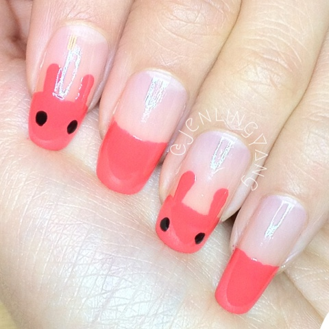cute red bunnies manicure nails