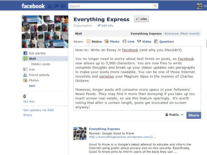 How-to: Write an Essay in Facebook - and why you Shouldn't