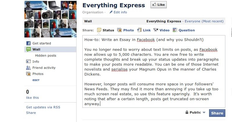 argumentative essay facebook