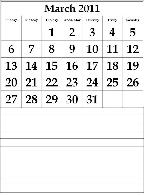 march calendar 2011. Free 2011 March Calendar