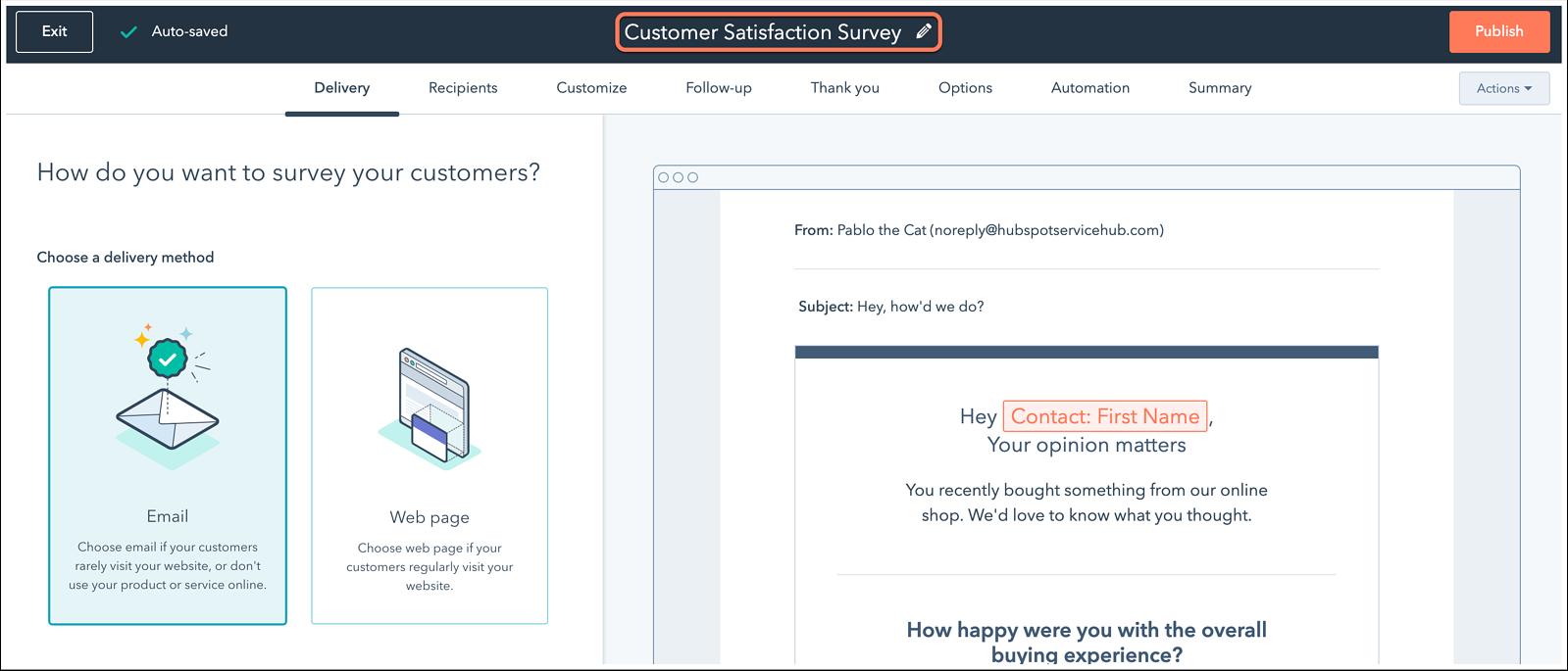 HubSpot's customer satisfaction survey tool