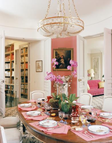 Pink in paris ellegant home design for Pink dining room ideas