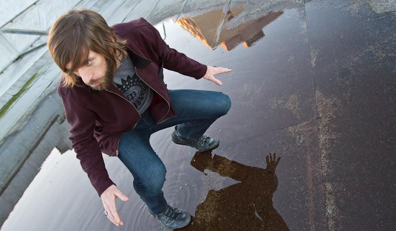 Red Hemp Fleece: Ben hovers over puddle