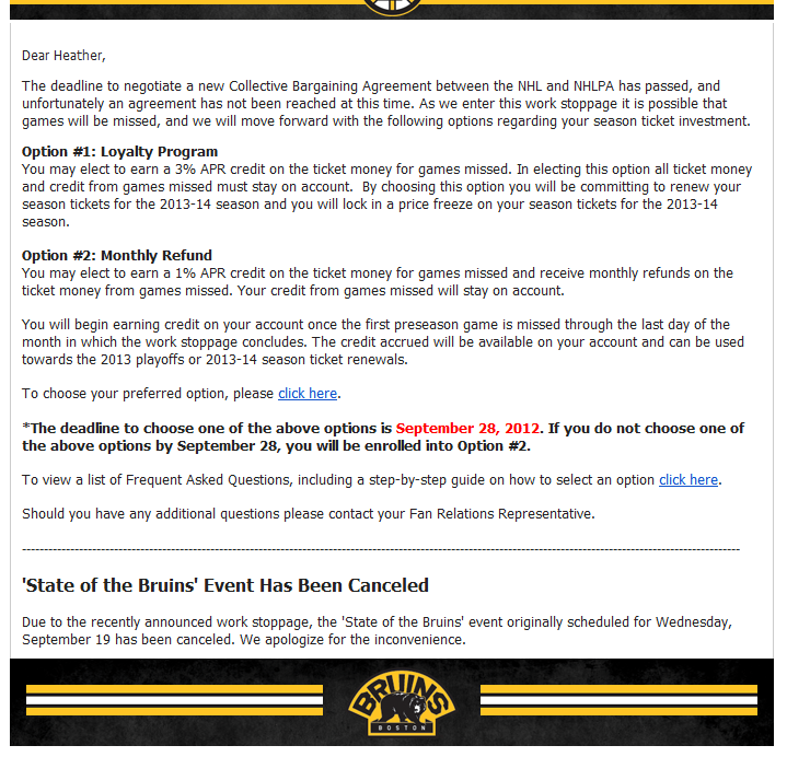 Boston Bruins cancel State of the Bruins event email