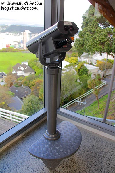 Coin-operated binocular at Kelburn station of Wellington Cable Car