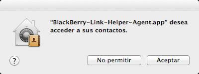 Permisos Blackberry link Helper