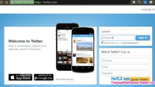 điền email, password để đăng nhập vào twitter