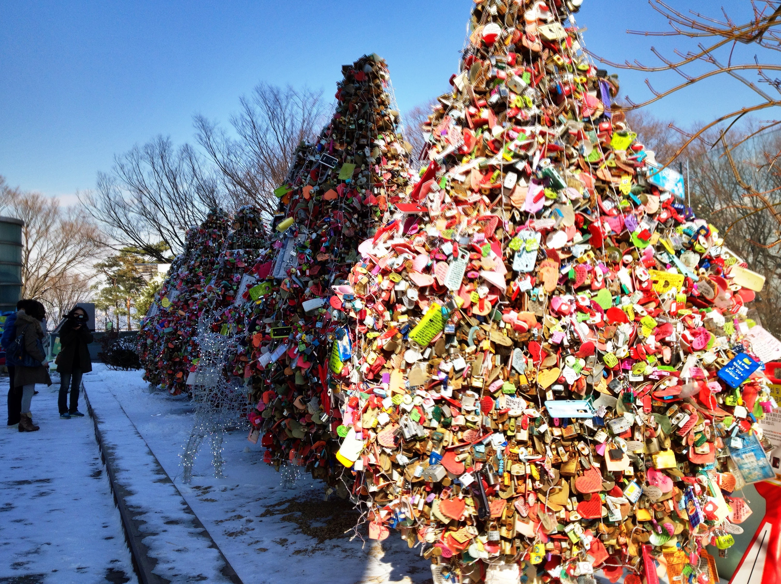 Padlock 'trees' at the base of N Seoul Tower