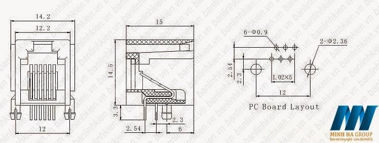 RJ11 6P4C 12x15x14MM
