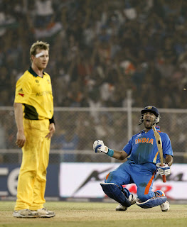 Yuvraj Singh is euphoric after hitting a boundary, India vs Australia, 2nd quarter-final, ICC Cricket World Cup 2011, Ahmedabad, March 24, 2011