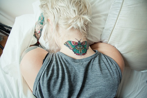 butterfly Tattoo designs for neck