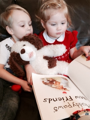 Blake and Maegan Clement reading Muddypaws New Friends by Steve Smallman and Simon Mendez