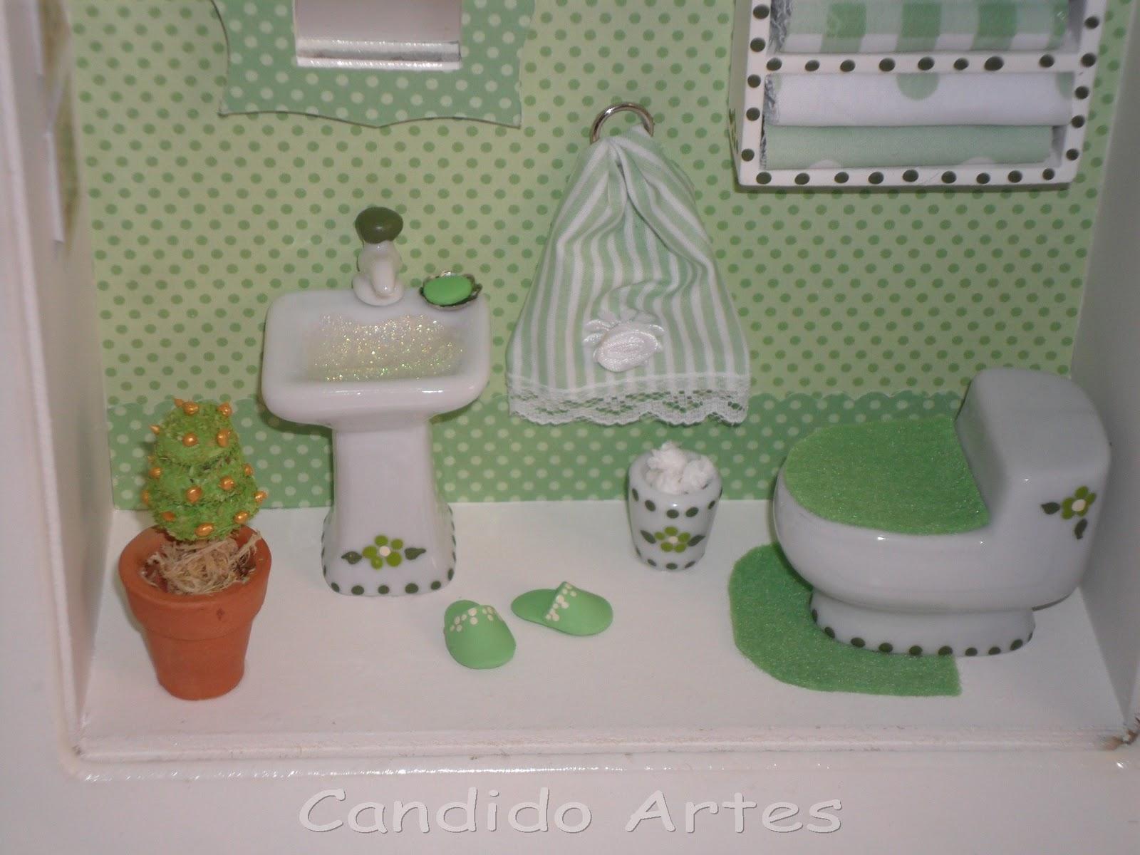 Artesanato Fortaleza Comprar ~ Artesanato Candido Artes Quadro miniatura de banheiro poá verde