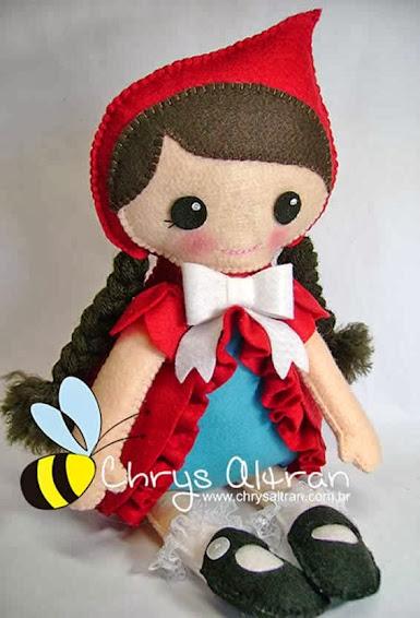 Boneca de feltro chapeuzinho vermelho