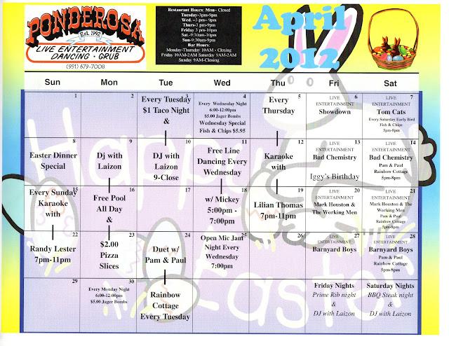 Ponderosa calendar april