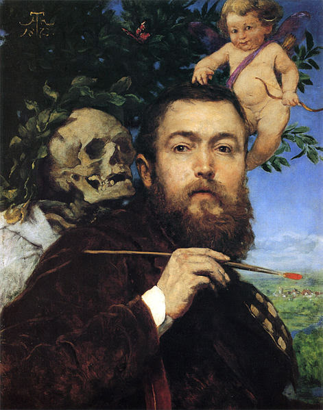 Hans Thoma - Self-portrait with Love and Death, 1875