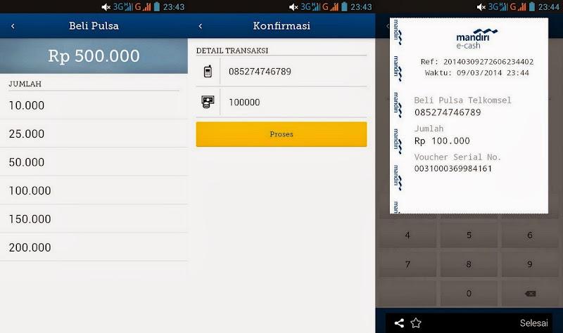 Desktop Beli Pulsa dan Belanja Online dengan Mandiri E cash