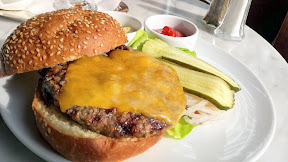 Happy hour burger at the Heathman, choice of cheddar, swiss, or pepperjack