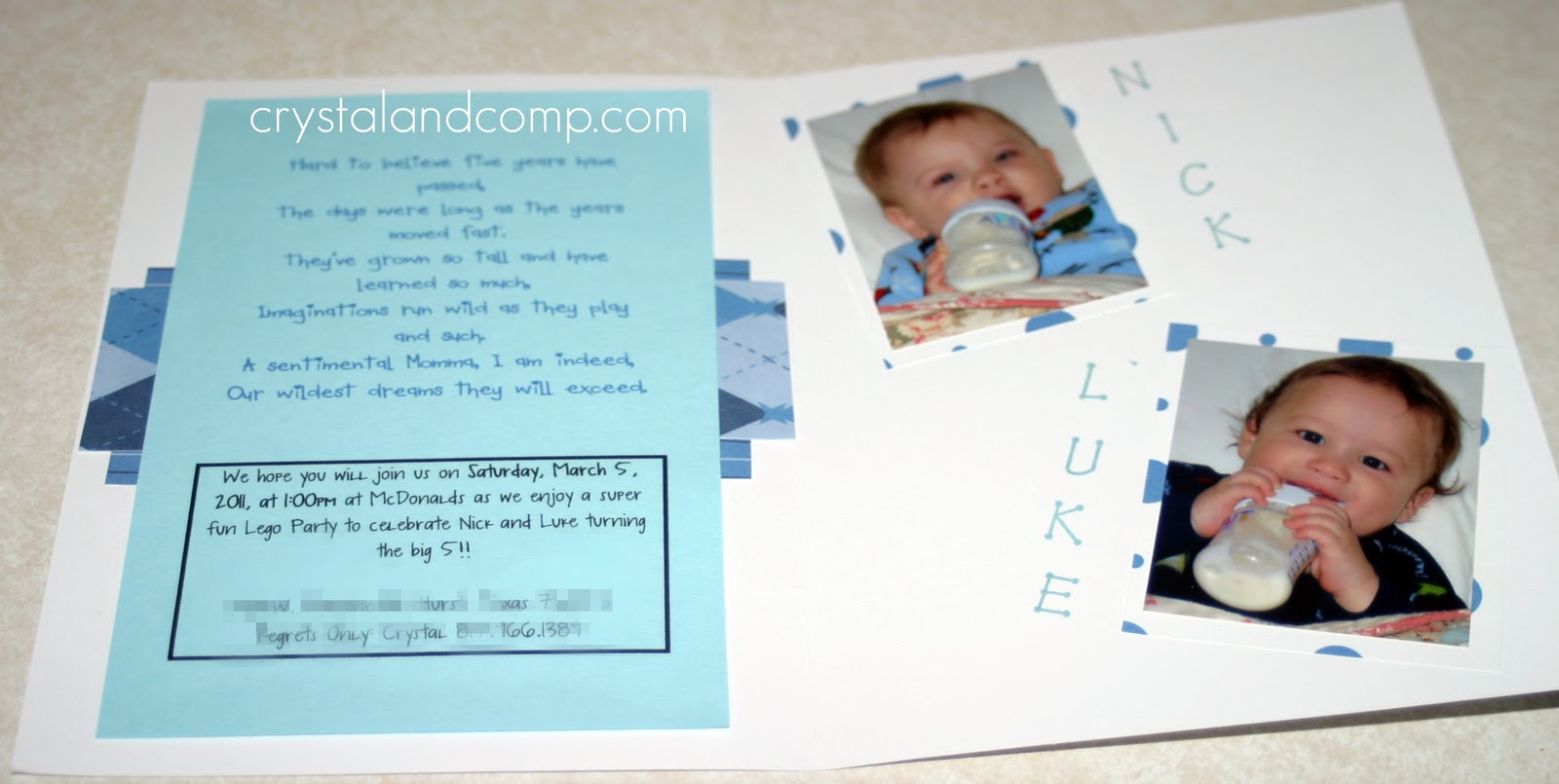 8 Use Card Stock Cut To Size Print Your Party Details I Like Write A Poem About The Birthday Children And Then Include At