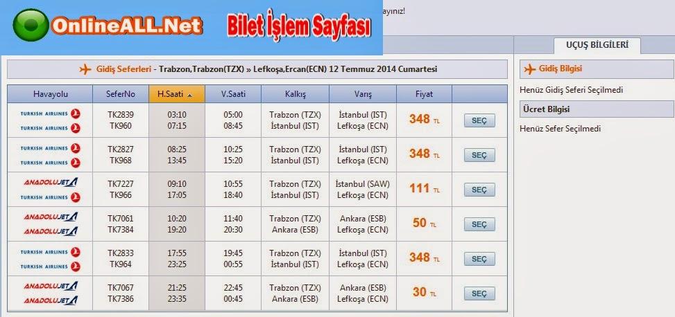 Trabzon - Lefkoşa Uçak Seferleri