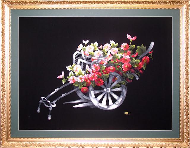 Tranh thêu Xe Hoa  Kích thước: 30 x 40 cm