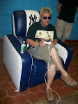Scotty sits in the Yankees chair and plays the Yankees on Xbox
