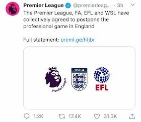 Official: Premier League also suspended