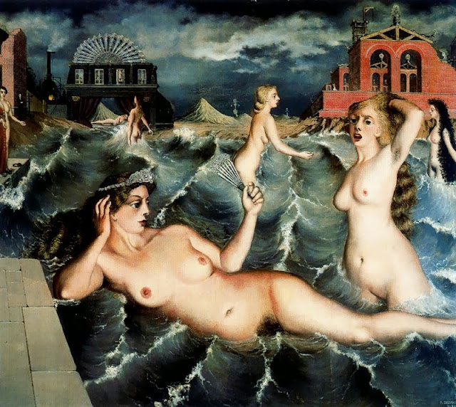 Paul Delvaux - Nymphs Bathing