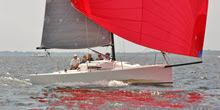 J/88 one-design familiy speedster sailing on Narragansett Bay