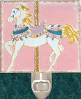 pink white carousel