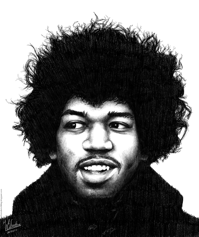 Pencil drawing of Jimi Hendrix, using Krita.
