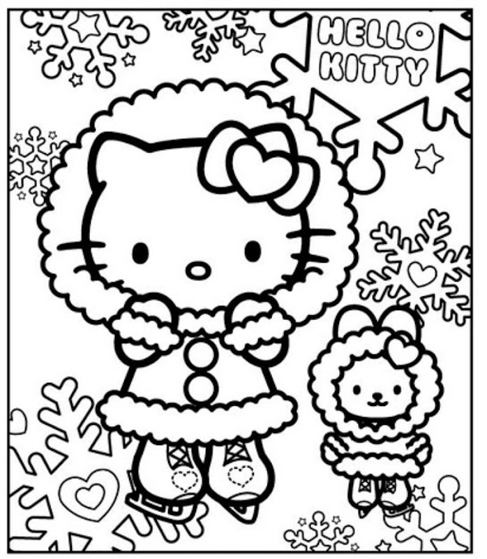 winter hello kitty coloring pages - photo#4