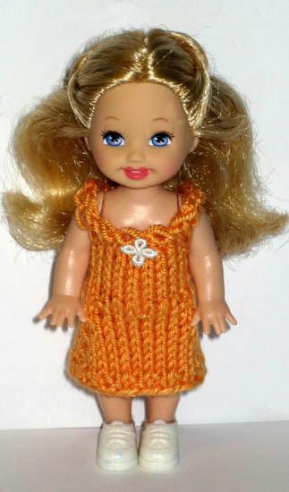 Оранжевое платье для куклы 11см