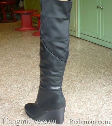 Boots đế xuồng, cao cổ quá đầu gối, chất liệu bằng da, màu đen 2 - Chỉ với 1.190.000đ