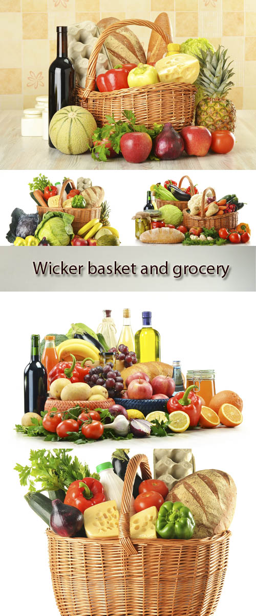 Stock Photo: Wicker basket and grocery
