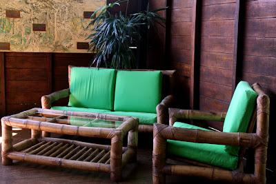 Sofas at the Inkaterra butterfly house in Puerto Maldonado in Peru