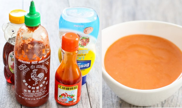 a process photo collage showing the ingredients needed to make the bang bang sauce and what the sauce looks like mixed in a bowl