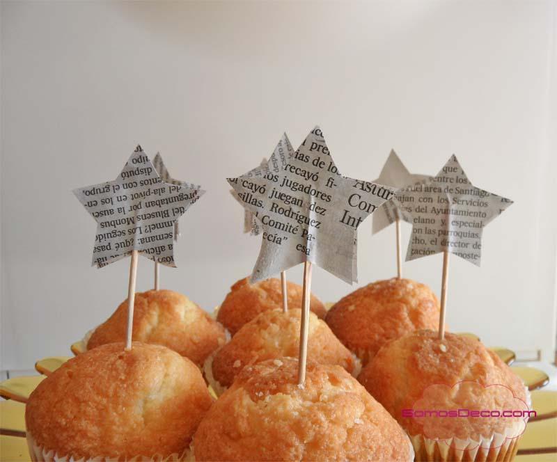 Palillos estrella para decorar en Navidad.