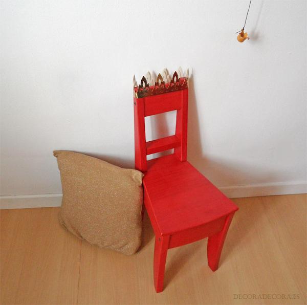 Decoracion para niños con una silla de rey