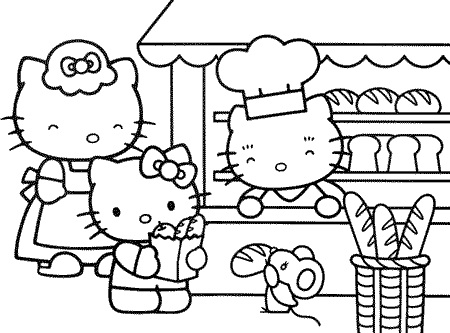 Hello Kitty Bakery coloring pages