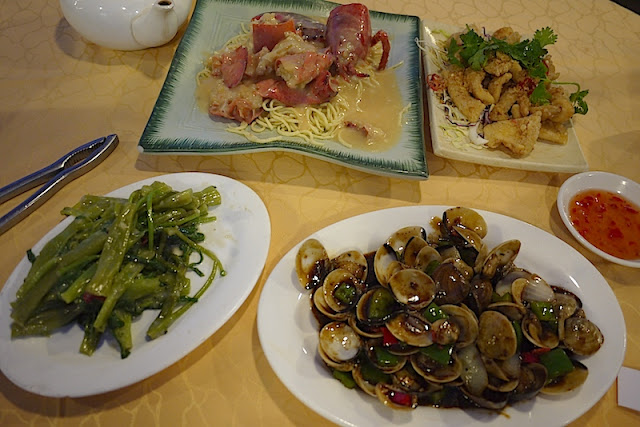 seafood dishes at a restaurant in Sai Kung Town, Hong Kong