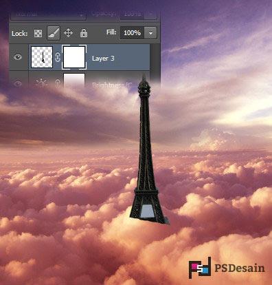 pindahkan objek menara eiffel kedalam awan