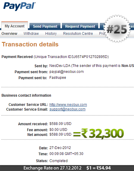 Neobux Payment Proof 25