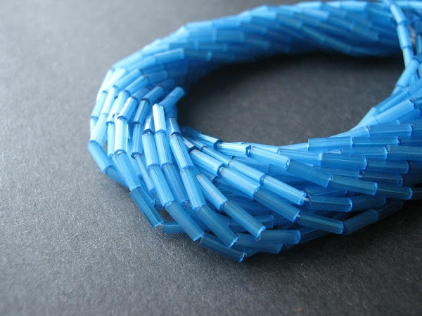 Satin Aqua Bugle Beads