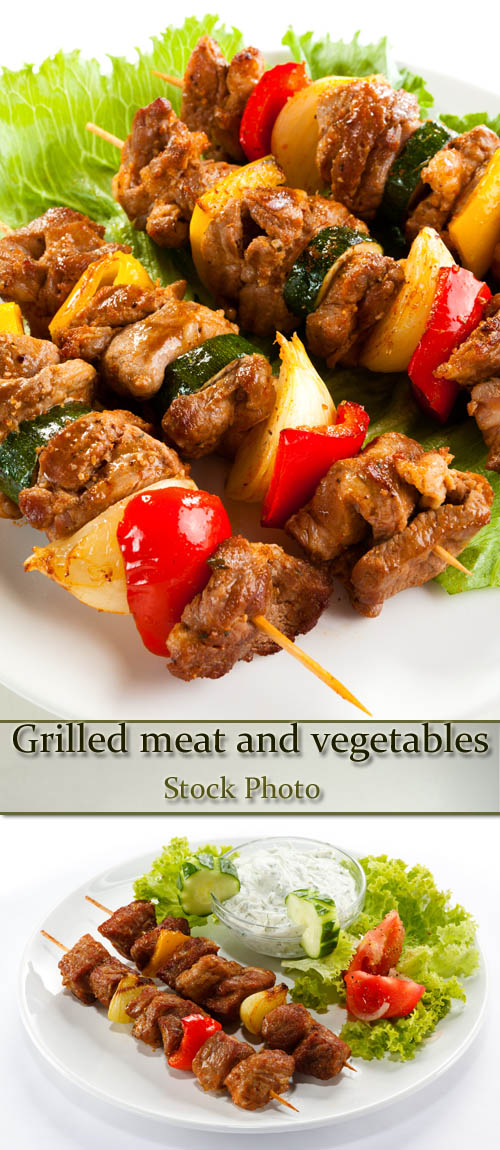Stock Photo: Grilled meat and vegetables