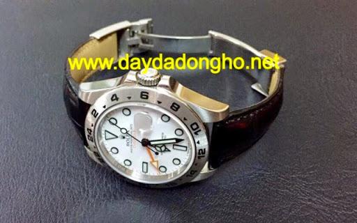Quai dây da đồng hồ Rolex Explorer II