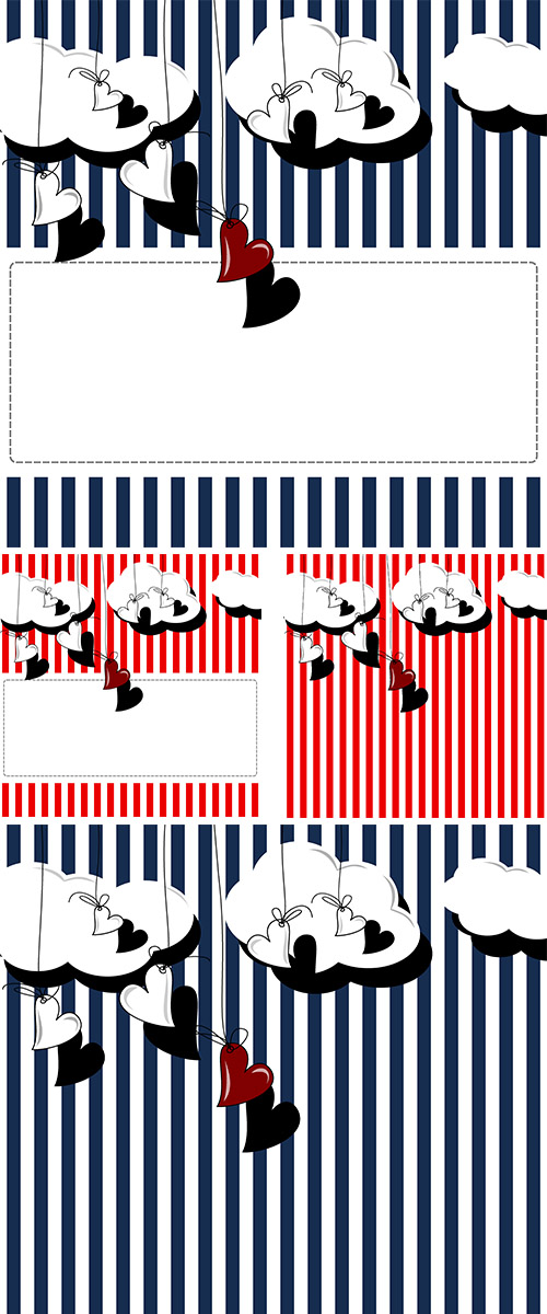 Stock: Hearts on a striped background